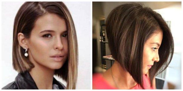 peinados de la mujer 2019, peinado asimétrico de la sacudida con estilo 2019